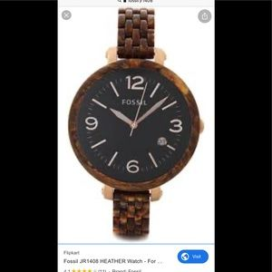 Fossil Heather Black Dial burlwood resin watch